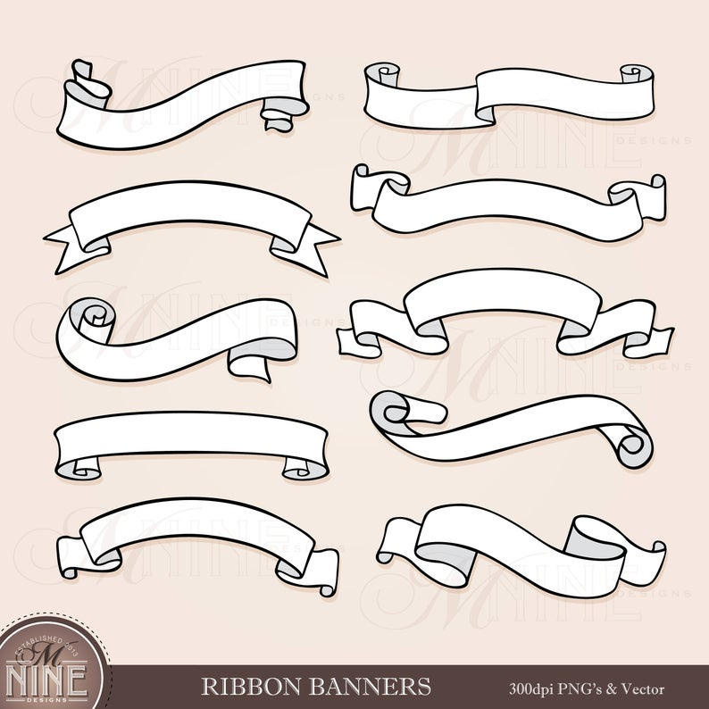 RIBBON BANNERS Clip Art / Banner Clipart Downloads / Banner Scrapbook  Clipart / Instant Downloads / Vector Clipart Downloads Illustrated.