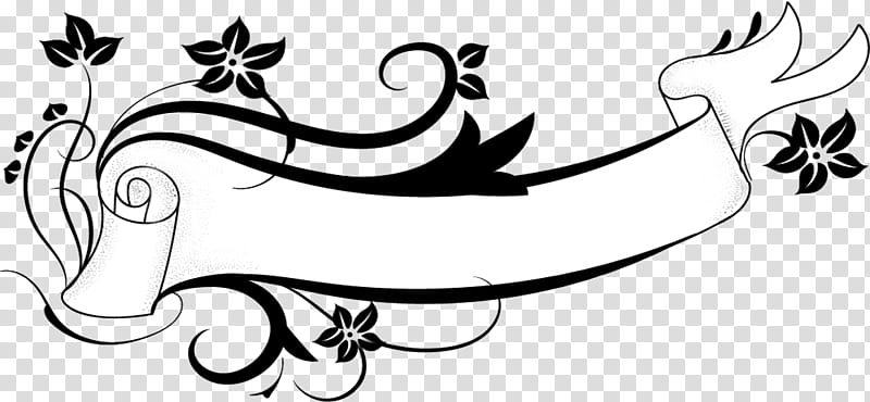 Banner, black and white ribbon and flowers art transparent.