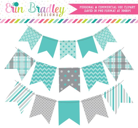 WEEKEND SALE! Blue & Gray Bunting Clip Art Instant Download.