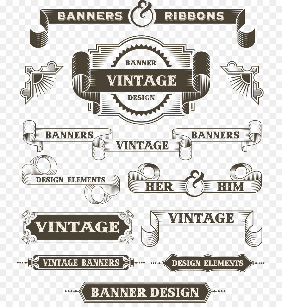 Vector Retro Banner PNG Drawing Royalty.
