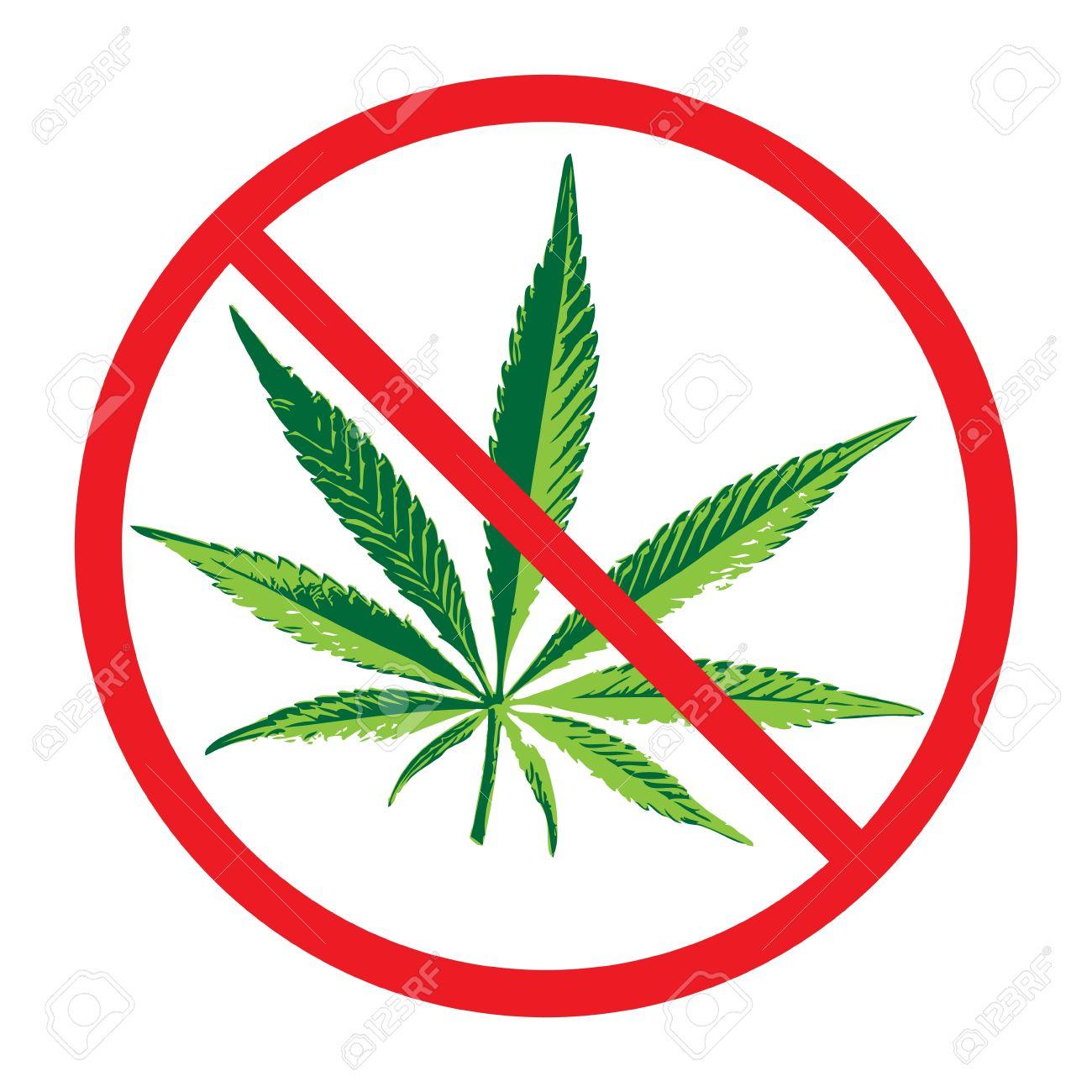 Cannabis Ban Sign, Vector Illustration Royalty Free Cliparts.