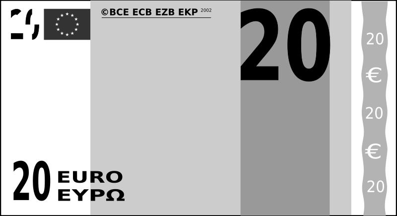 Free Clipart: Billet de banque de 20 euros..