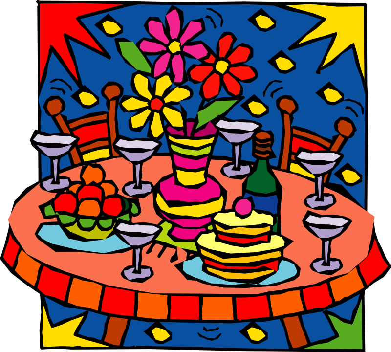Banquet table food clipart.