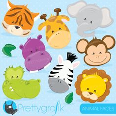 ZOO ANIMAL HEADS Clipart Digital Clip Art, Instant Download.