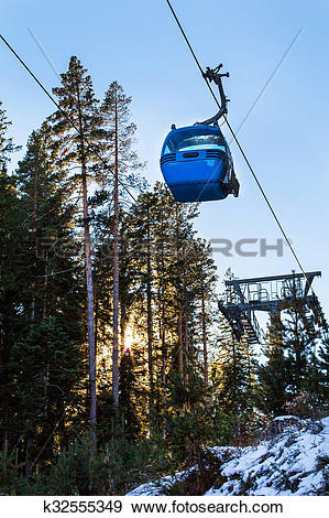 Stock Illustration of Close up Bansko cable car cabin, pine trees.