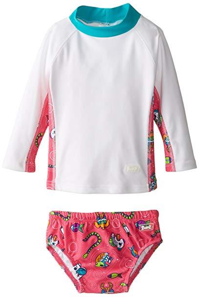 Baby Banz Baby Girls\' Long Sleeve Rash Guard and Swim Diaper.