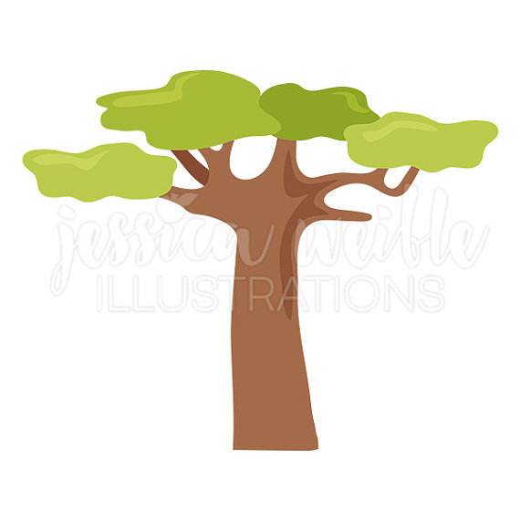 Baobab Tree Cute Digital Clipart, Tree Clip art, Safari Graphics.