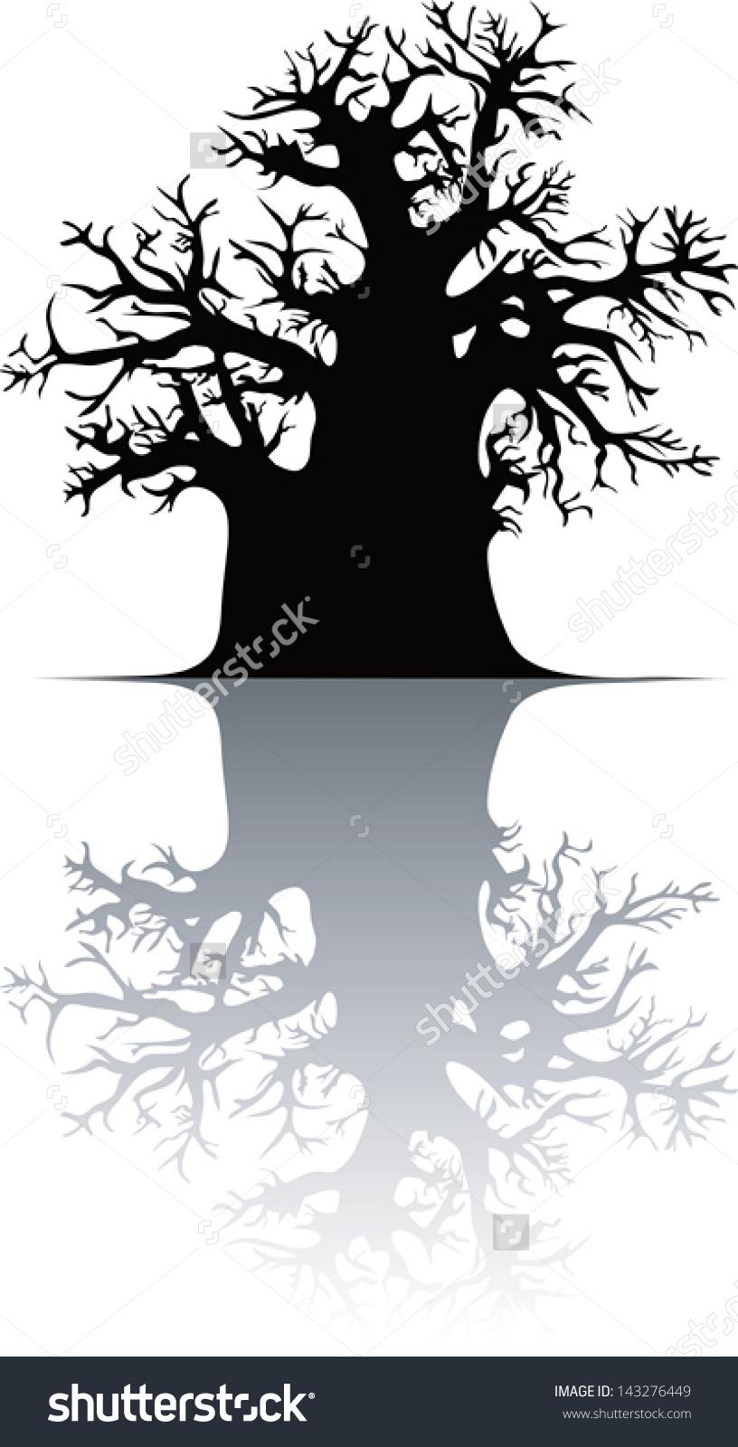 Silhouette Baobab Tree Stock Vector 143276449.