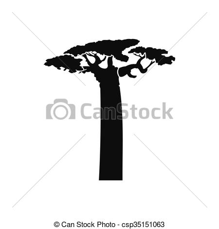 Clip Art Vector of Baobab tree icon, simple style.