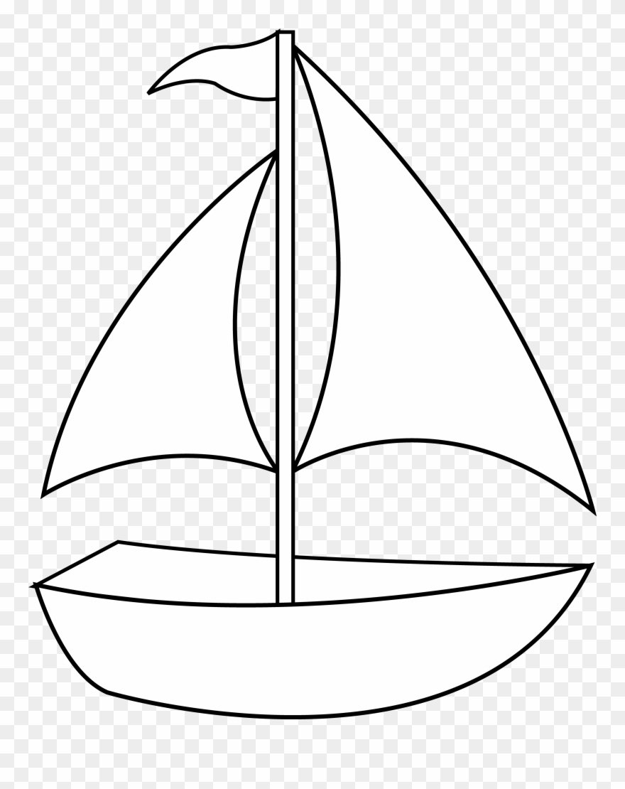 Colorable Sailboat Line Art Free Clip Painting.