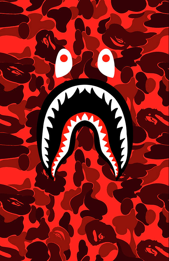Bape Shark Teeth Camo Red.