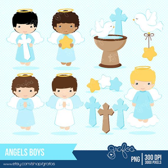 ANGELS BOYS Digital Clipart , Baptism Clipart, Angel Baptism.