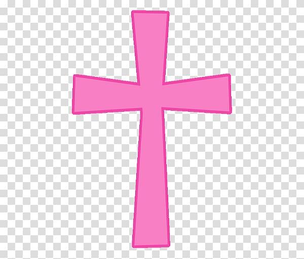 Pink cross illustration, Christian cross Eucharist Baptism.