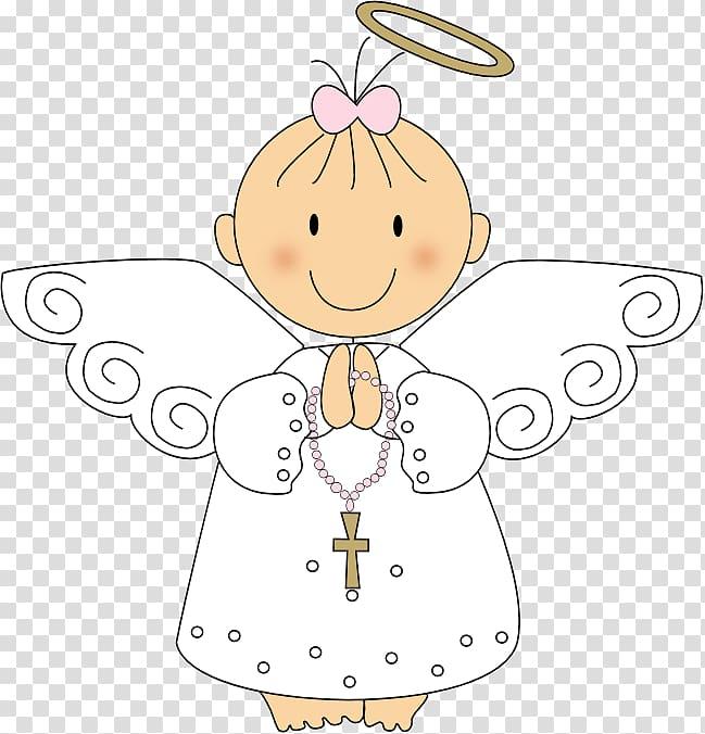 Girl angel illustration, Baptism Eucharist First Communion.