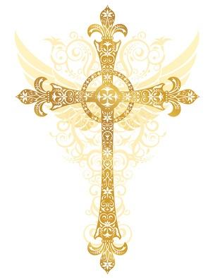 Gold Cross Baptism Clipart.