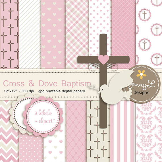 Cross Dove Clipart, Girl Baptism Digital Papers, First.