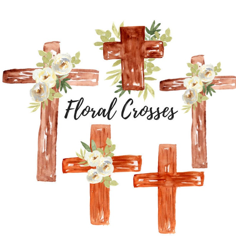 Watercolor Easter cross clipart.