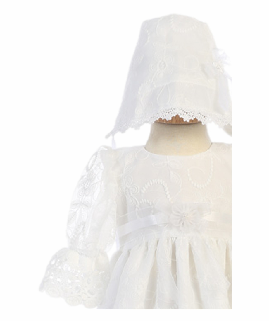 Embroidered Tulle Lace Christening Gown Baby Girls Gown.