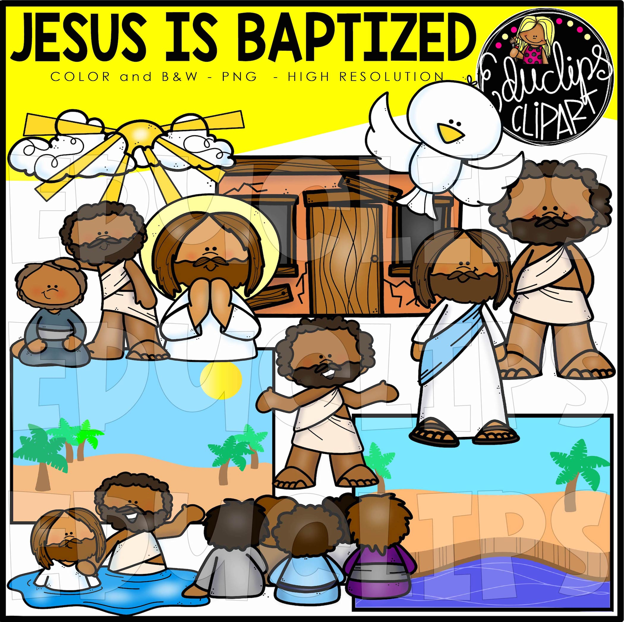 Jesus is Baptized Clip Art Set.