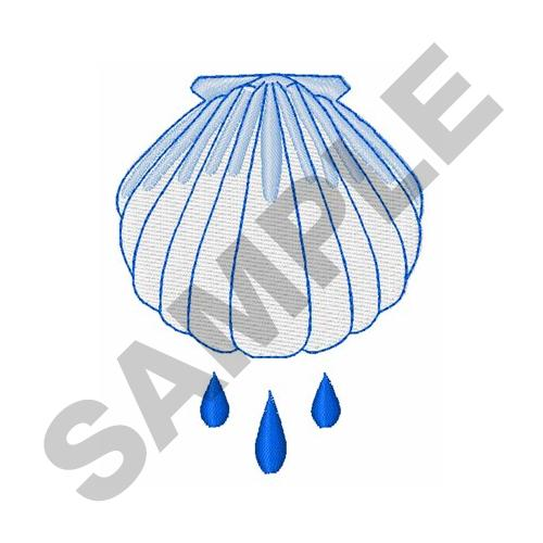 Baptism Shell Embroidery Design.
