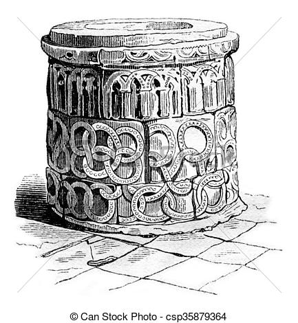 Stock Illustration of Baptistery of the Church of St. Martin in.