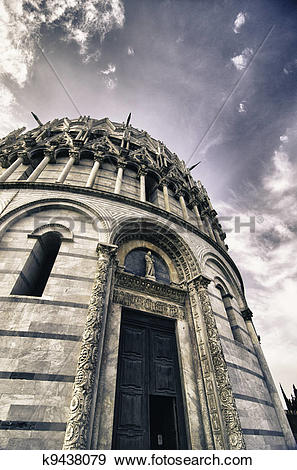 Stock Photograph of Romanesque style Baptistery in Pisa, Italy.