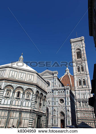 Stock Photograph of View of the Baptistery, Campanile and Duomo.