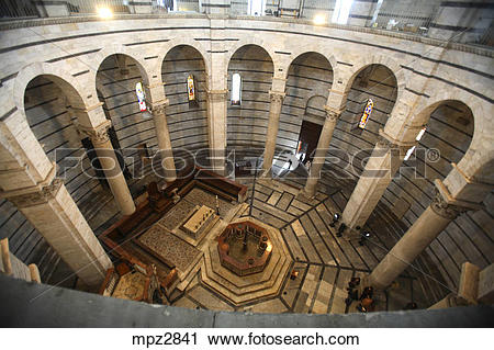 Stock Photography of Inside the Baptistery in Piazza dei Miracoli.