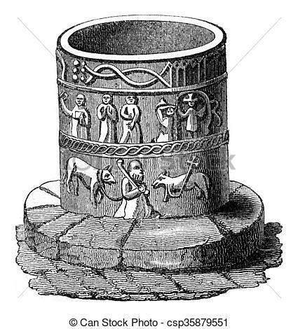 Stock Illustrations of Norman baptistery Kirkburn Priory.