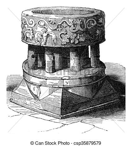 Stock Illustrations of Norman Baptistery of the Church of Hayes.
