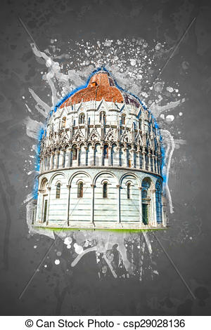 Drawings of Baptistery, Pisa, Italy.