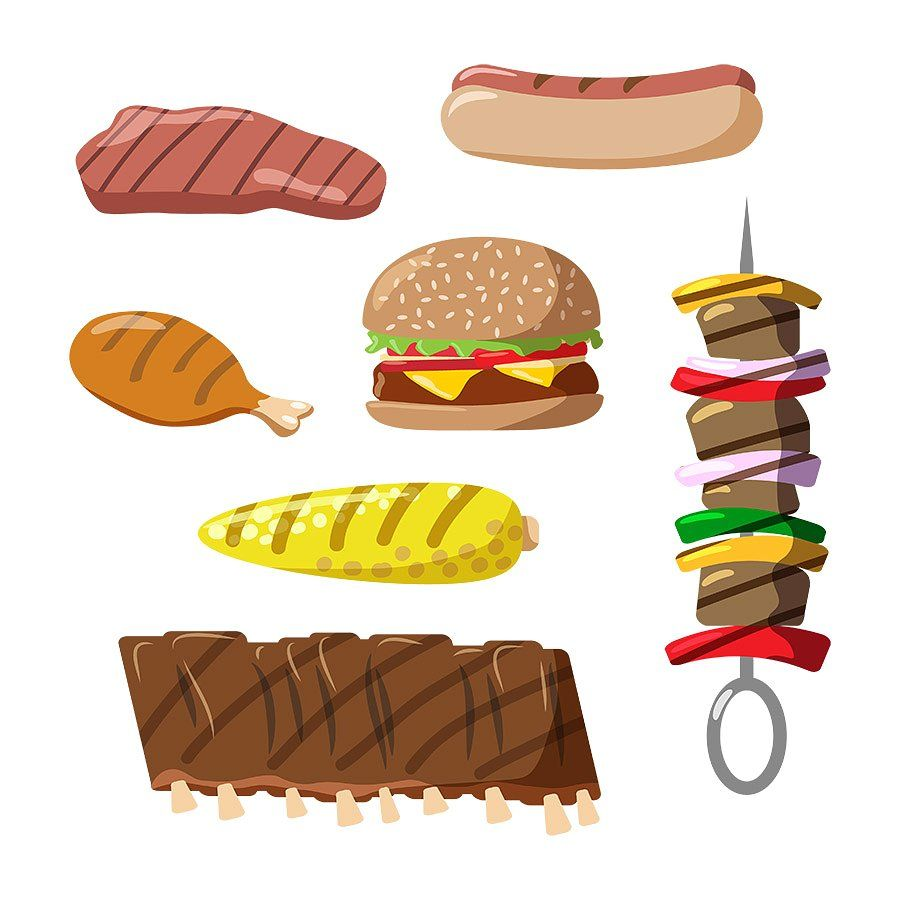 Grilled Food Clipart #hamburger#includes#set#steak.