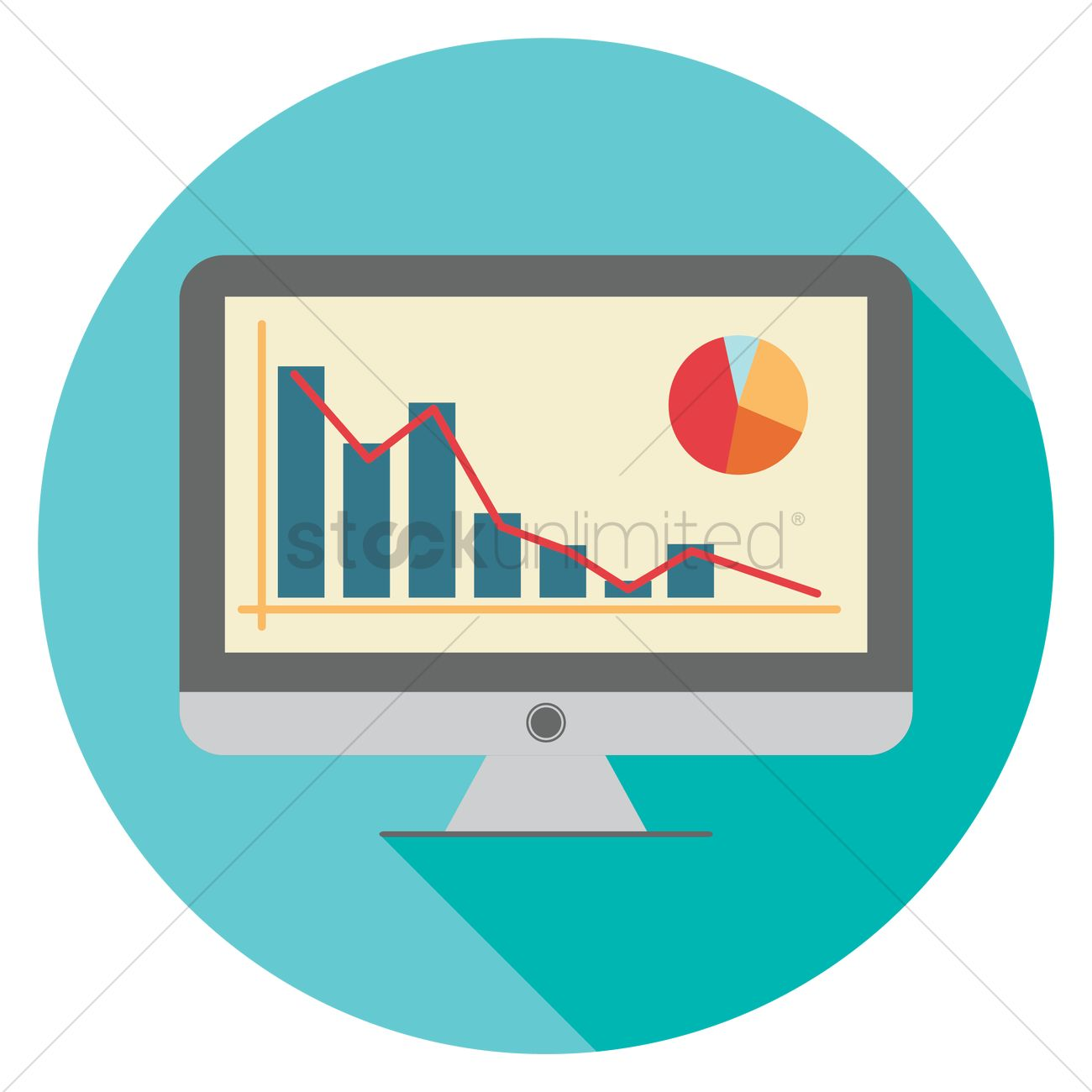 Bar graph and pie chart monitor Vector Image.