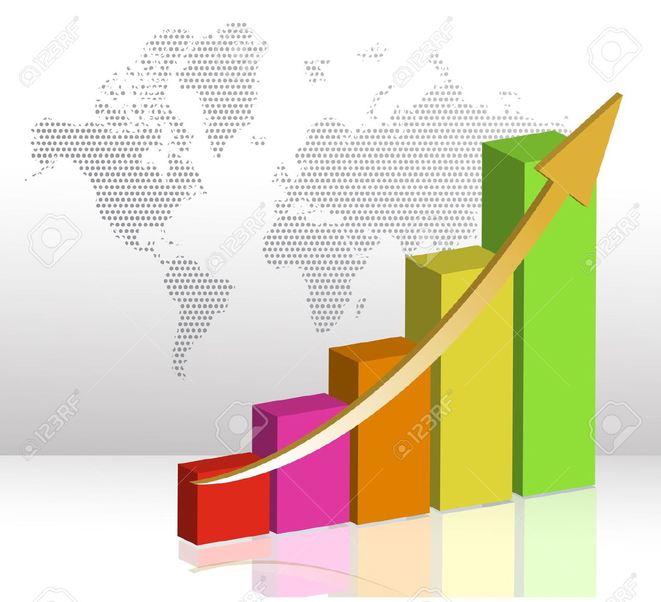 Colorful Business Bar Chart Illustration On A White Background.
