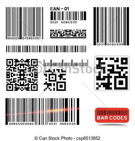 Vector Illustration of Vector Barcode Label Collection.