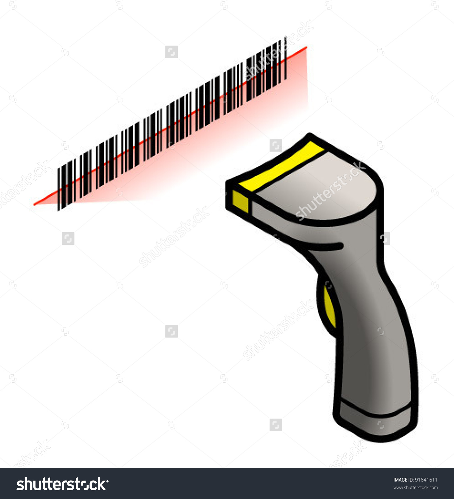 Handheld barcode scanner clipart.
