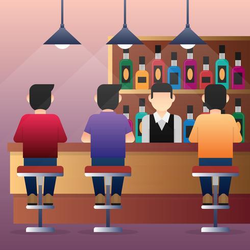 Group Of People Man Sitting At Bar Counter Illustration.