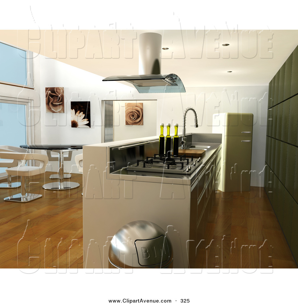 Avenue Clipart of a Modern Kitchen Interior with a Fan over.