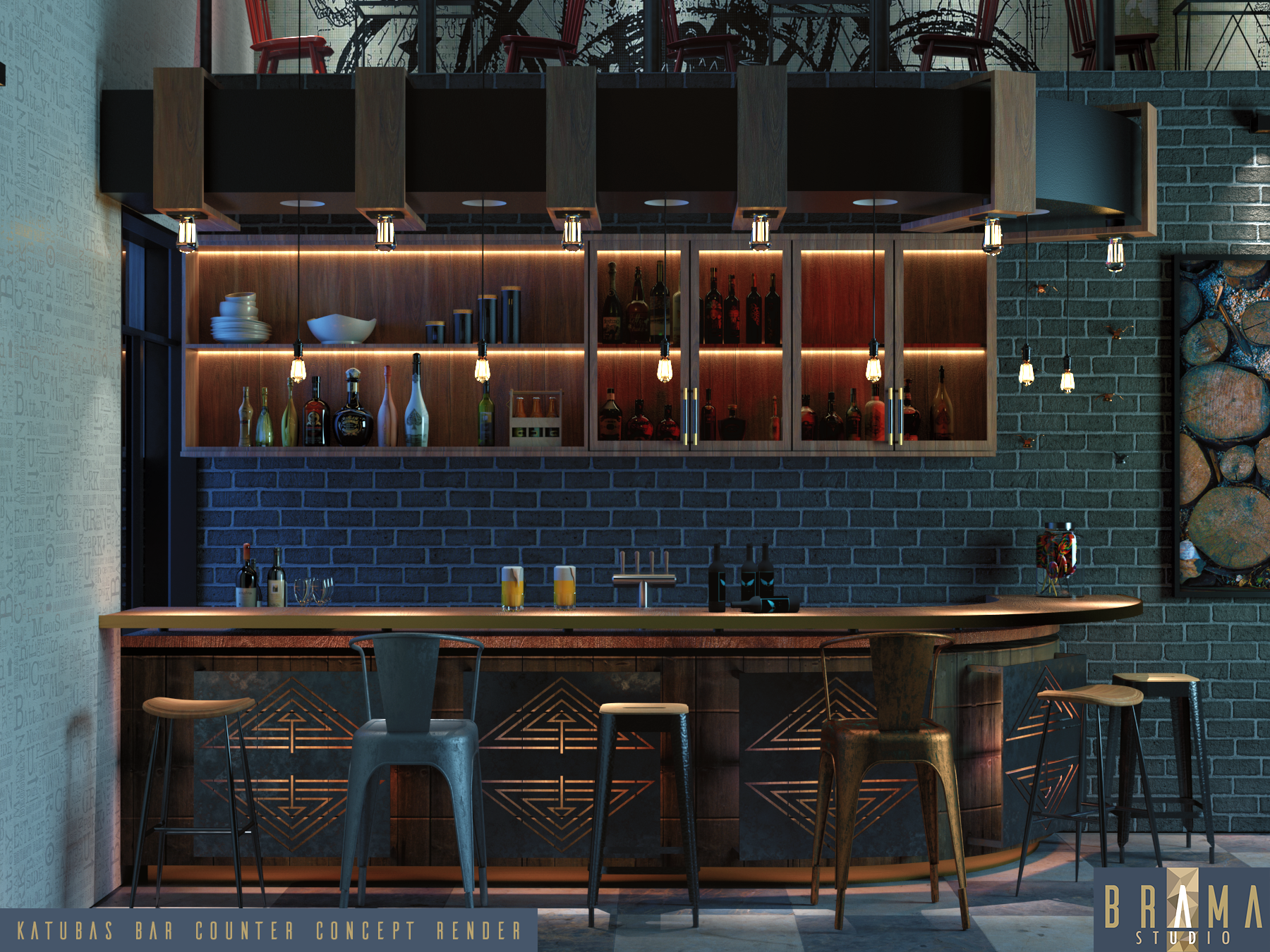 Concept for a bar counter for an on.