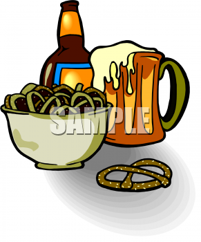 Food Clip Art Picture of Pretzels and Beer.