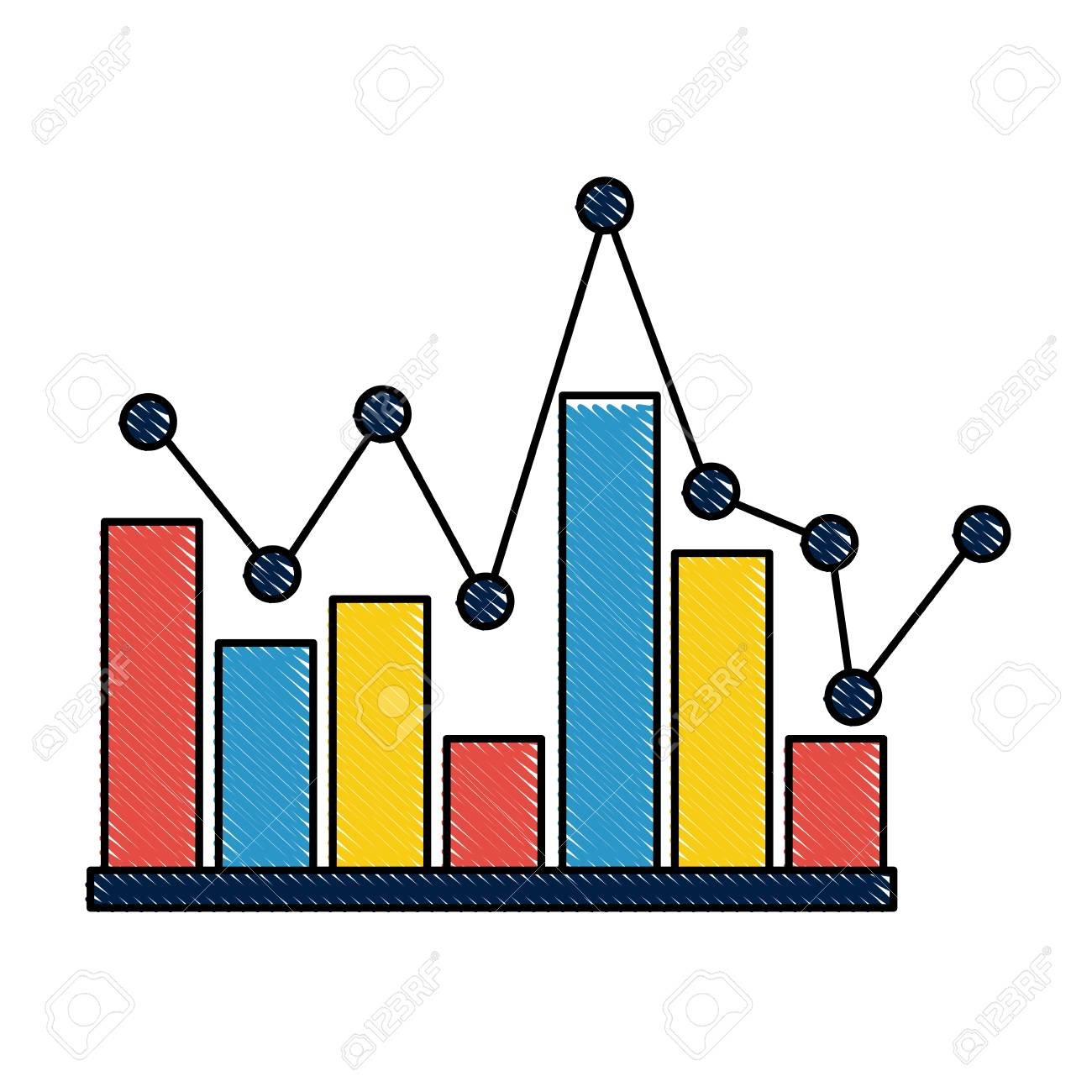 statistics bar graph pointed line design vector illustration.