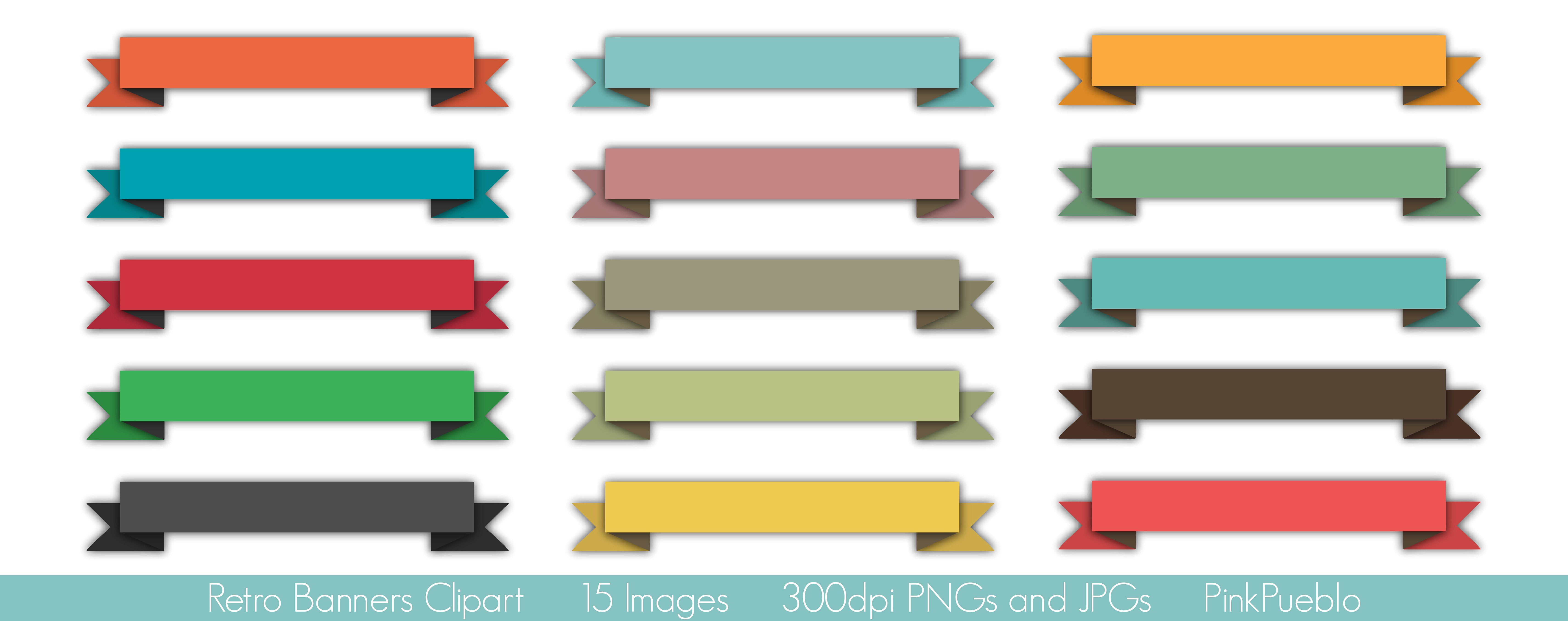 Retro Banners Vectors and Clipart by PinkPueblo on.