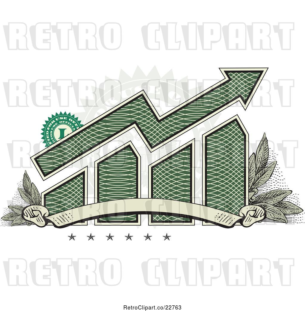 Vector Clip Art of Retro American Dollar Themed Bar Graph.