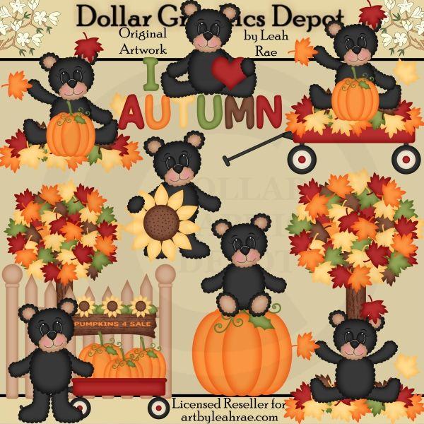 Autumn Bears 2 Clip Art Set, by Art by Leah Rae.