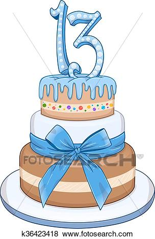 Blue Bar Mitzvah Cake For 13th Birthday Clip Art.