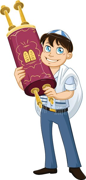Jewish Boy With Talit Holds Torah For Bat Mitzvah Clipart.