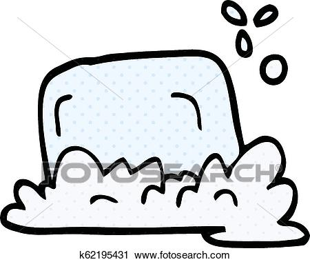 Cartoon doodle bar of soap Clipart.