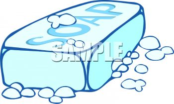 Royalty Free Clipart Image: Bar of Soap with Bubbles.