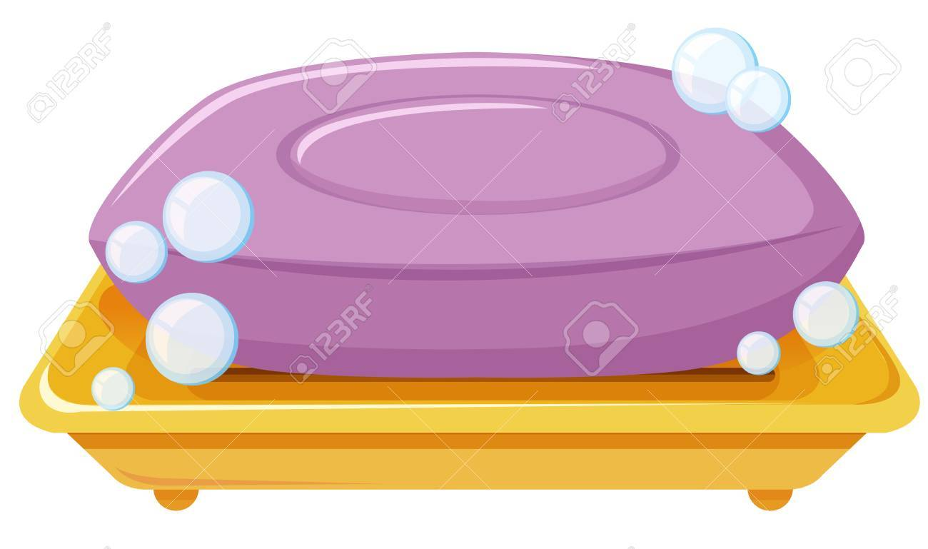 Bar of soap on the tray illustration.