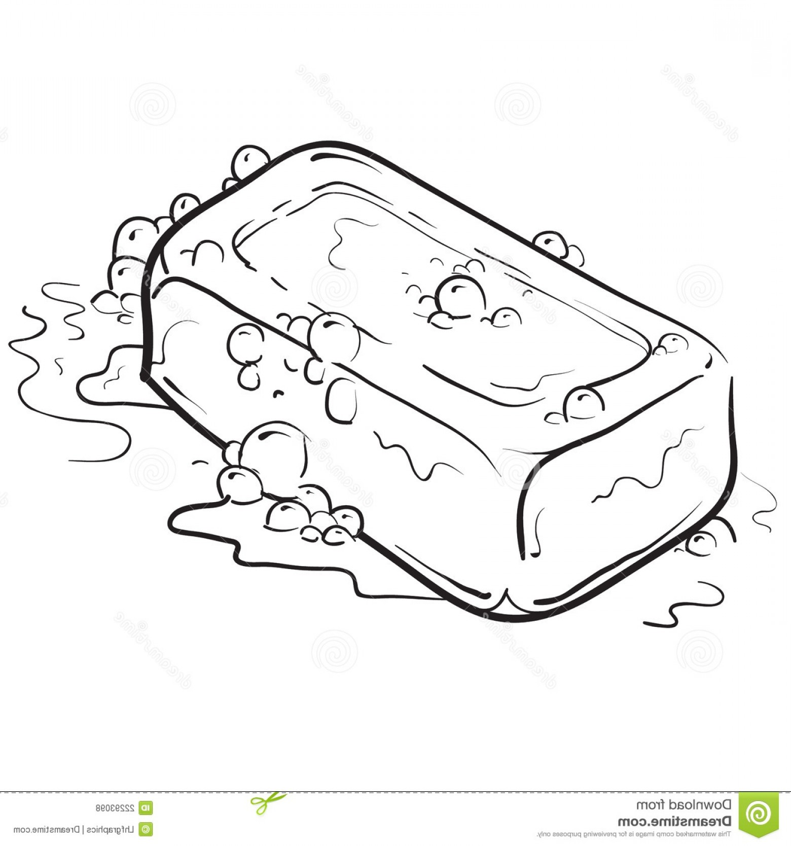 Cartoon Of A Black And White Sudsy Bar Of #115805.